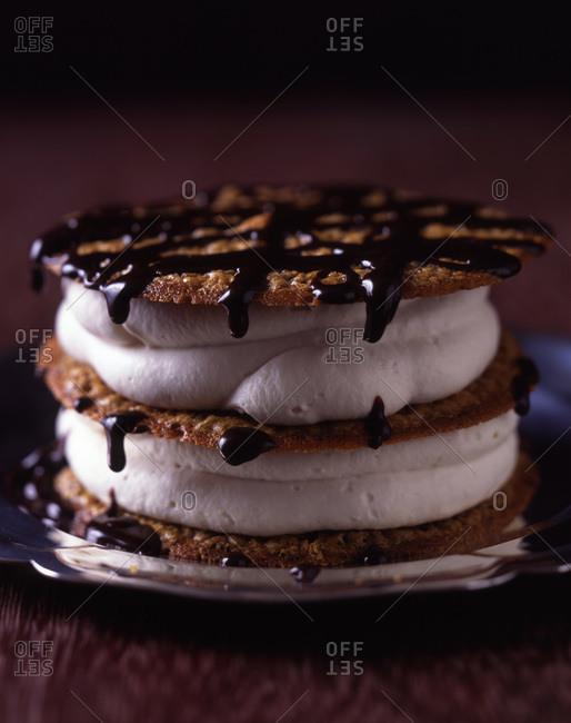 Close up of tempting waffle ice cream sandwich