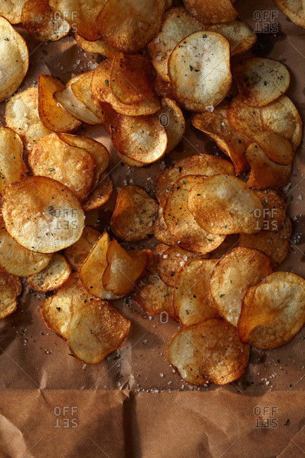 Pile of fresh potato chips from above