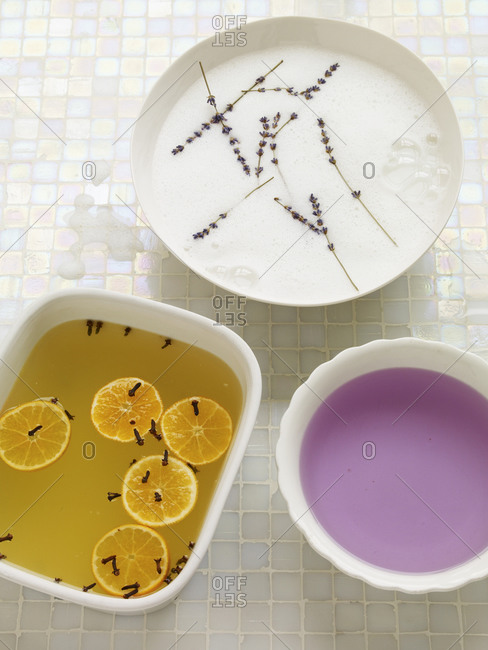 Aromatherapy rejuvenation liquids in a bathroom.