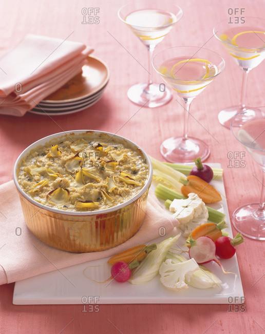 Veggie crumble in a golden ramekin.
