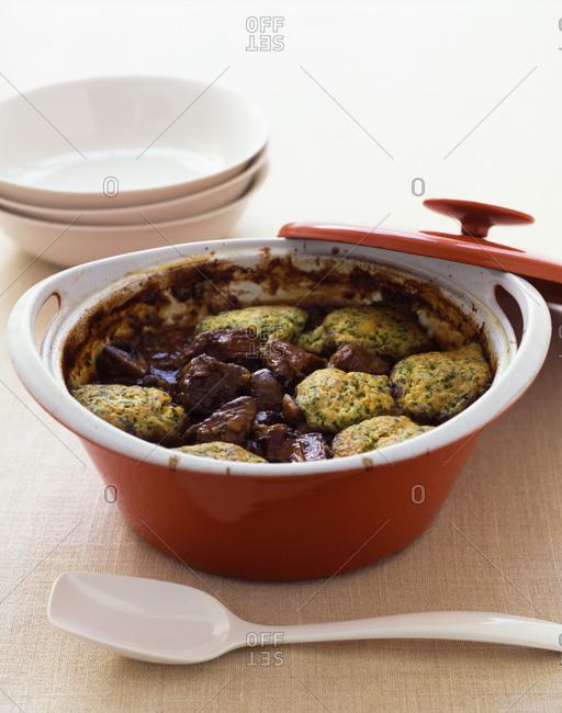 Beef stew with seasoned dumplings.