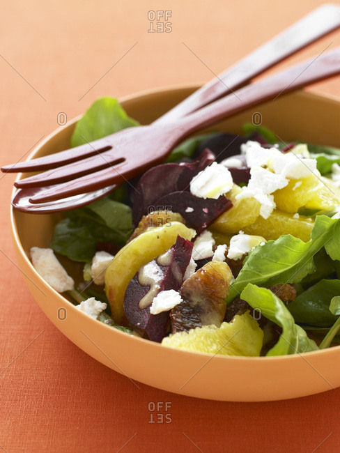 Citrus salad with roasted beetroot, lettuce and soft cheese.
