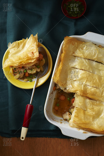 Savory casserole covered with filo pastry.