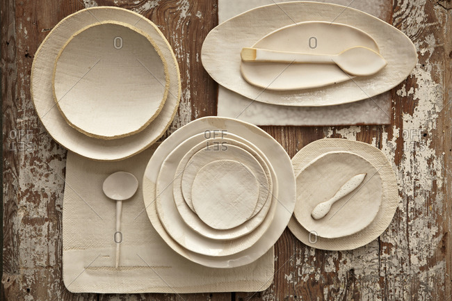 Rustic white tableware from above.