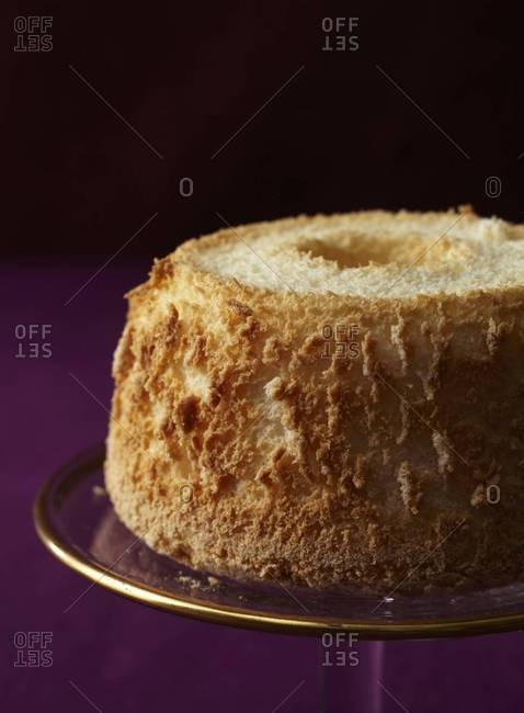 Coconut bundt cake on a stand