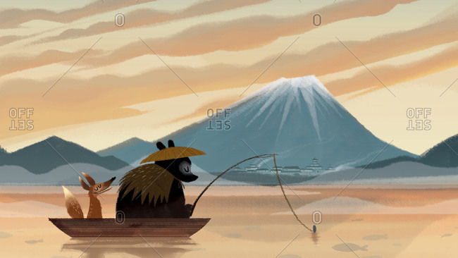 Bear and fox fishing in front of Mount Fuji