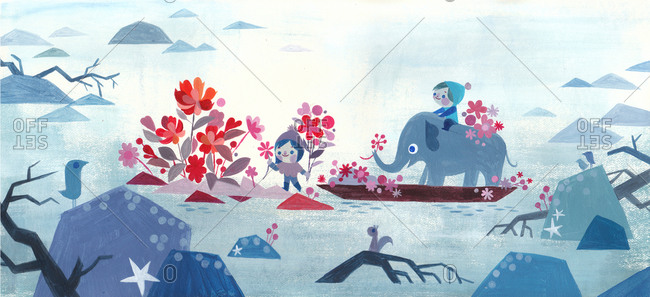 Children with elephant on a boat