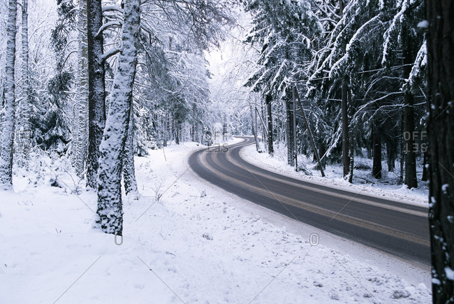 A country road during wintertime