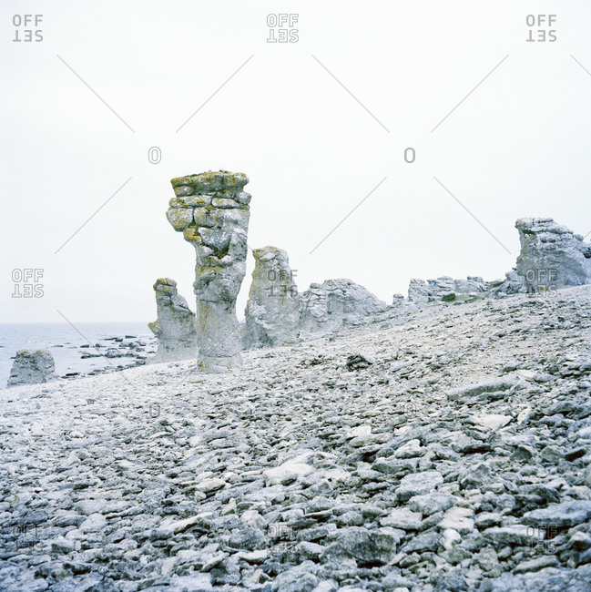 Rock formations in Faro, Sweden