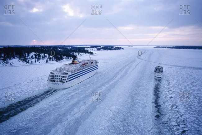 Ships in the archipelago at wintertime
