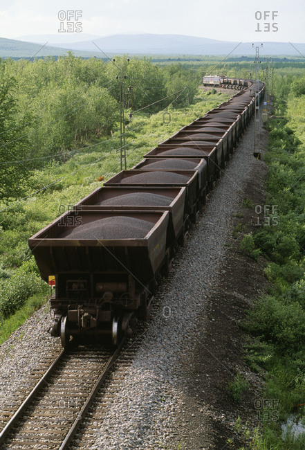Loaded goods wagons, elevated view
