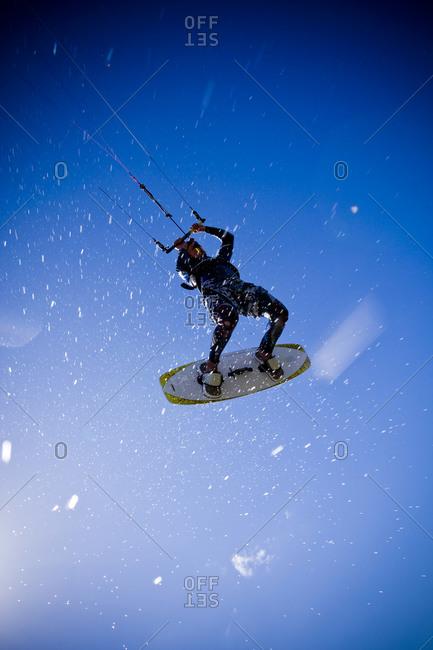 A kite surfer in action, Sweden