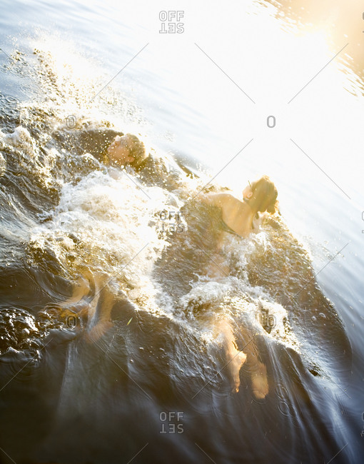 Two women swimming in a lake, Nacka, Sweden