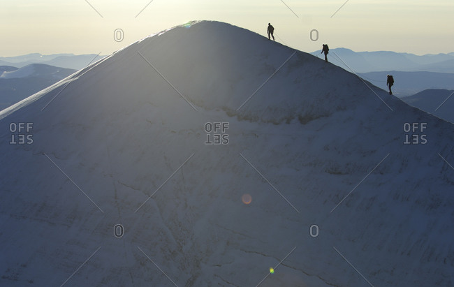 Mountain climbing, alpinism, on top of the Kebnekaise mountain, Giebnegaise, 2104 meters