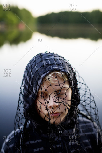 Boy with a net on his head, Finland
