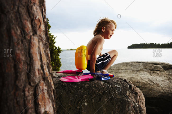 A boy by the sea, Sweden