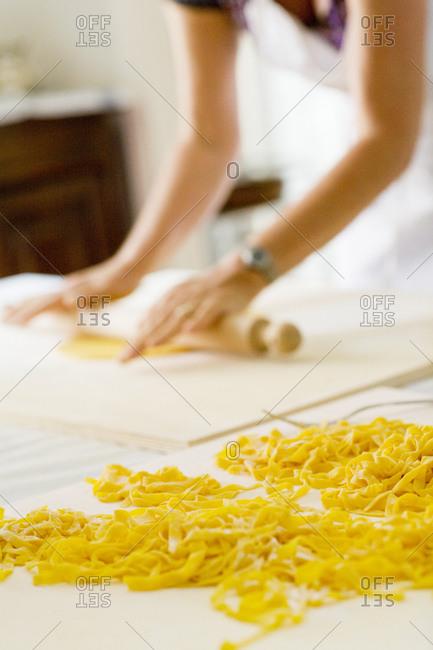 Woman preparing pasta