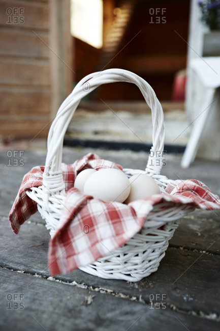 Eggs inside basket