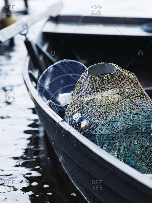 Crayfish traps on boat
