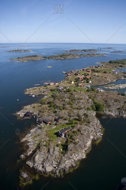 Aerial View of island village aerial View