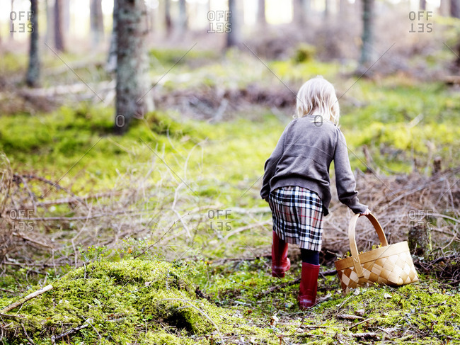 Girl picking mushrooms in forest autumn