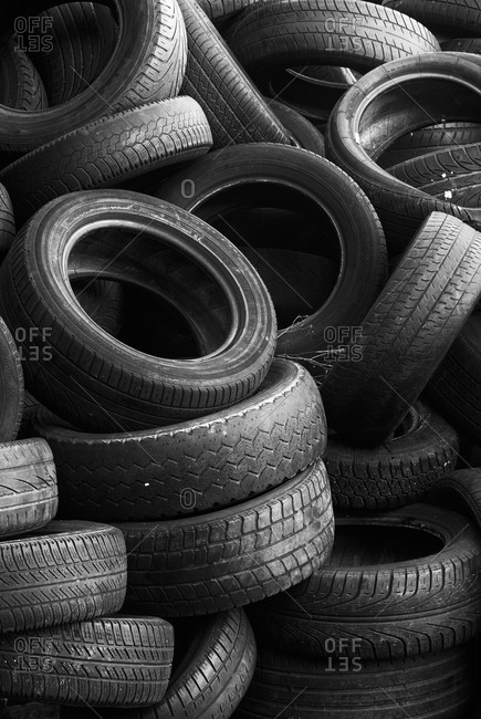 Pile of old tires black