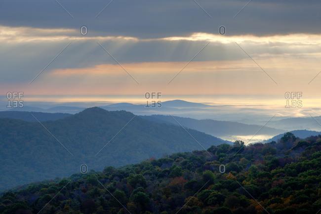 Fog over valley America