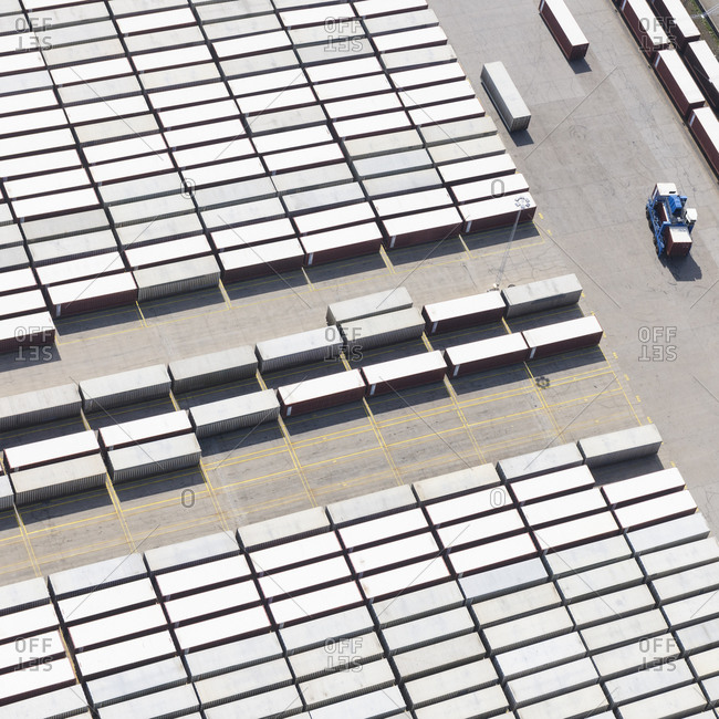 High angle View of cargo containers in harbor