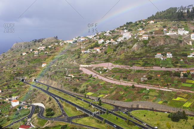 Rainbow over Madeira landscape