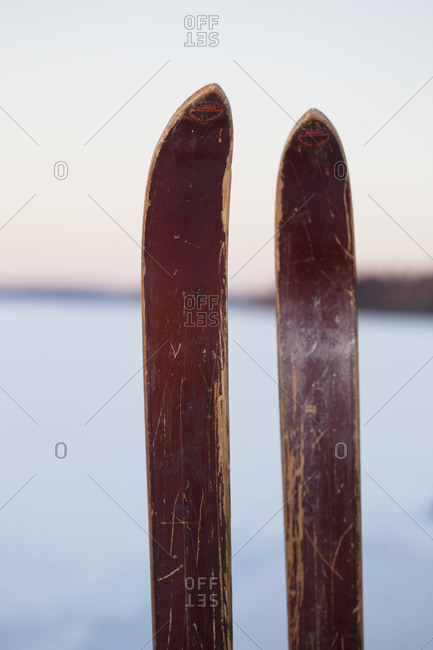 Close-up of old wooden skis