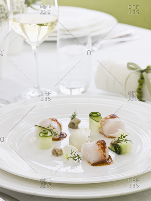 Elegant place setting with appetizer