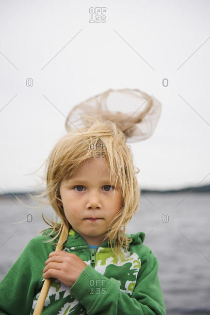 Portrait of boy with fishing net