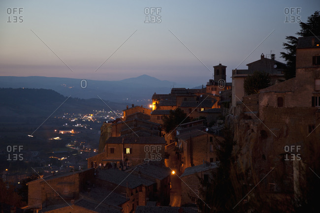 Small Italian village at dusk