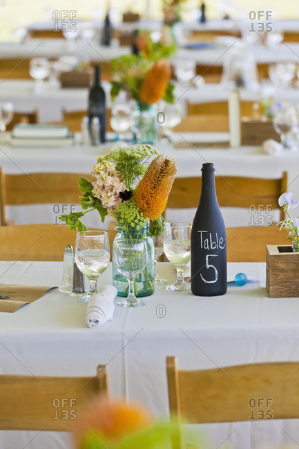 Table setting at a wedding