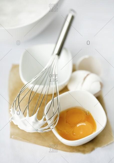 Baking ingredients (egg yolk and beaten egg white)