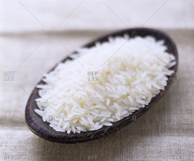 Uncooked Long Grain White Rice in a Dish