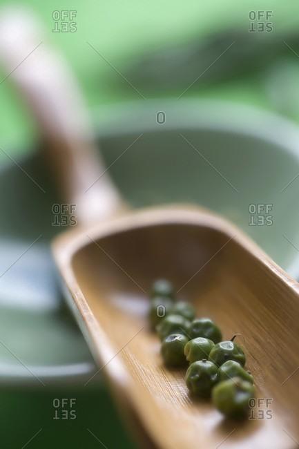 Green peppercorns in a wooden scoop