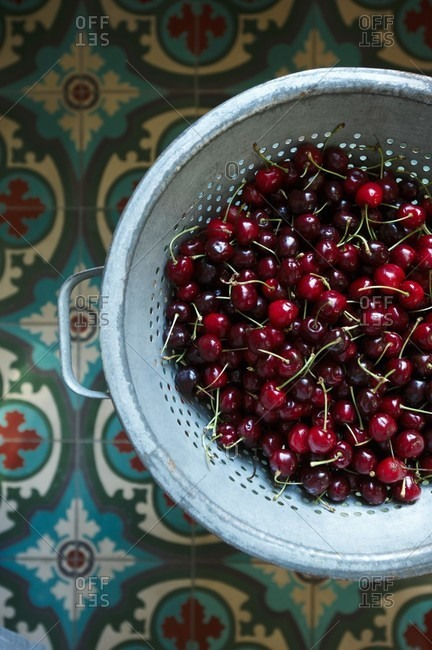 Bing Cherries with Stems in a Colander; From Above