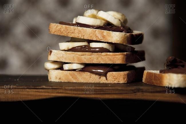 A banana and chocolate sandwich