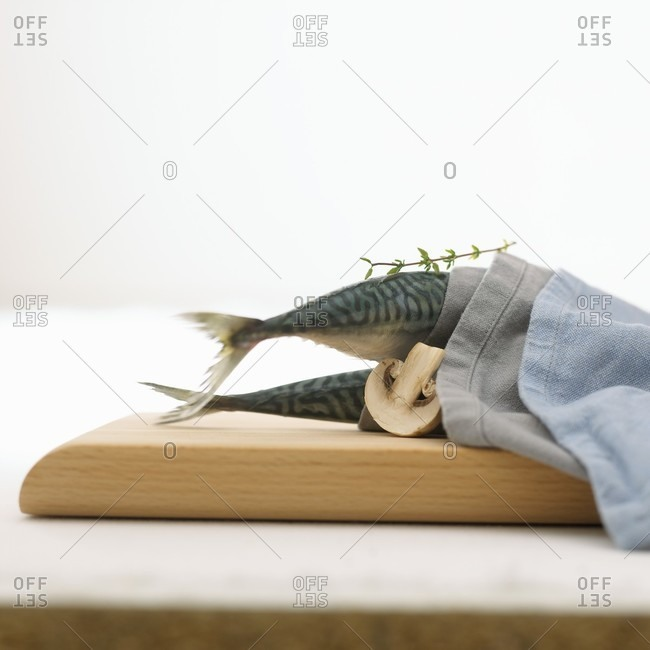 Two mackerel in a fabric napkin with mushroom and thyme