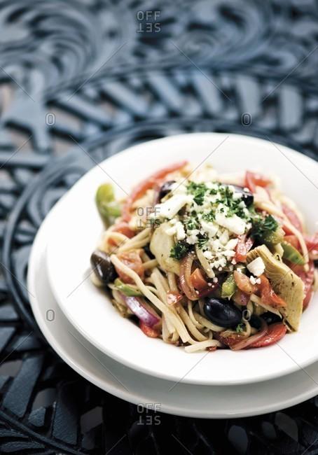 Mediterranean Pasta Dish in a White Bowl