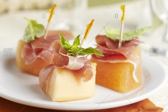 Melon, Prosciutto and Basil Appetizers