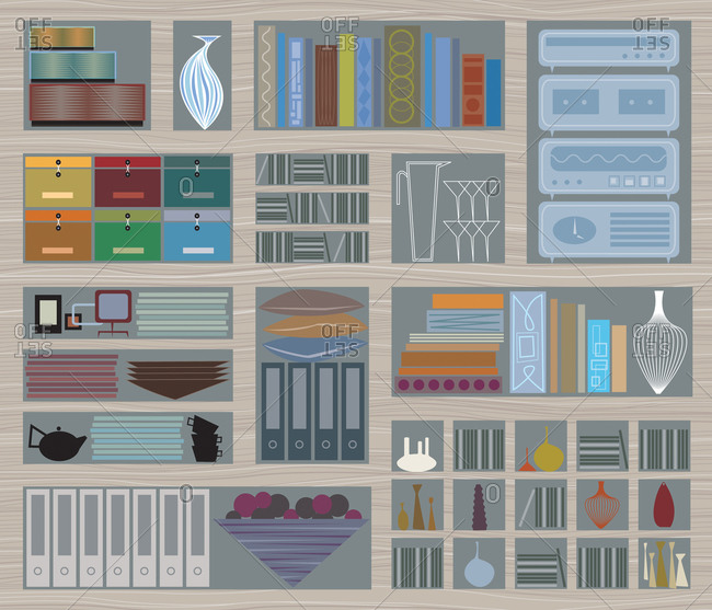 Large wood display shelf with array of modern accessories and books