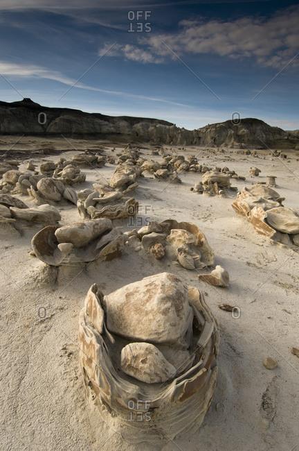 Eroded sandstone rock formations at Bisti Badlands, Farmington, New Mexico.