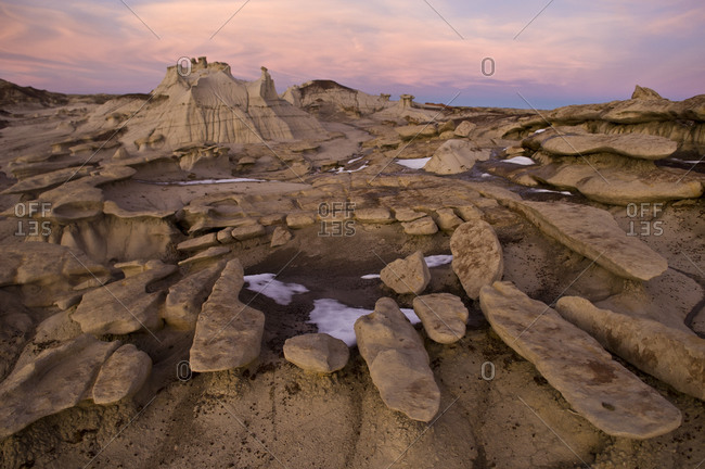 Eroded sandstone rock formations at Bisti Badlands, Farmington, New Mexico.