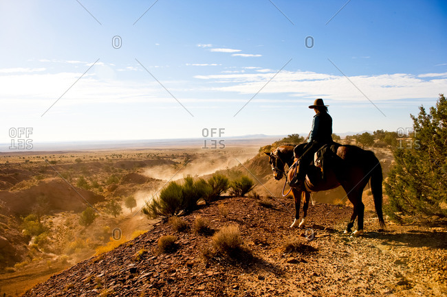 A lone cowboy stands watch as a separate team of cattle wrestlers move the heard of cows down a dusty Arizona desert trail.