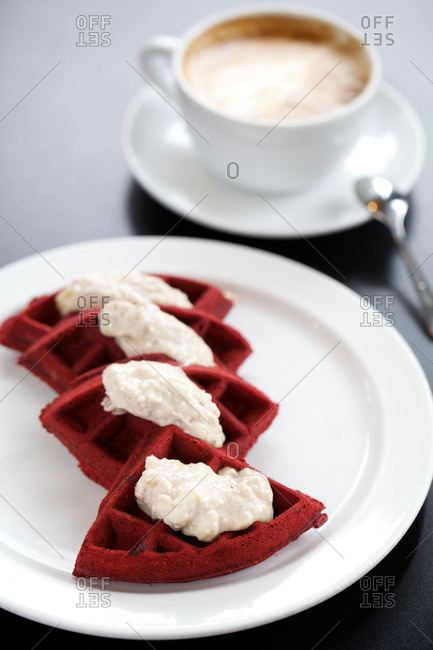 Red velvet waffles with cappuccino