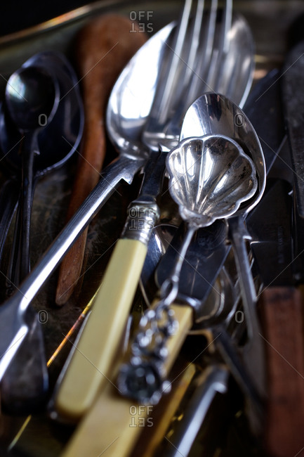 Close-up of silver flatware