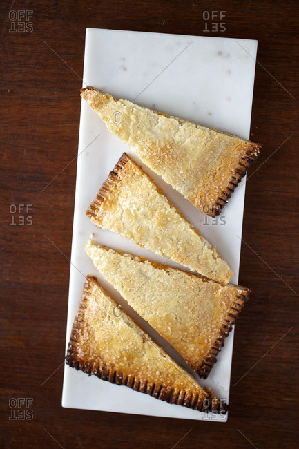 Thanksgiving sweet potato hand pie on a tray from above