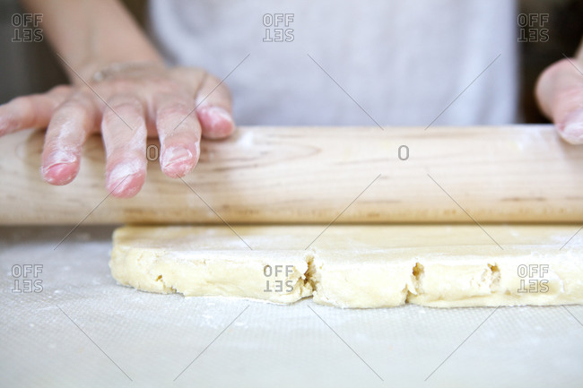 Hand rolling out dough